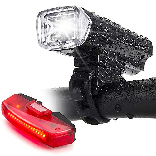 Bike Lights,Bike Headlight with [Free Biicycle Taillight], LERMX USB Rechargeable Waterproof Bicycle Lights Set Powerful Lumens LED Bike Front and Back for Adults Road Cycling Safety Flashlight