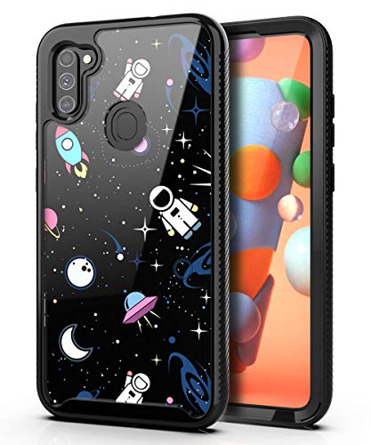 PBRO Samsung A11 Case,Galaxy A11 Case Cute Astronaut Case Dual Layer Hybrid Anti-Slip Sturdy Case Rugged Shockproof Case for Samsung Galaxy A11 Space/Black