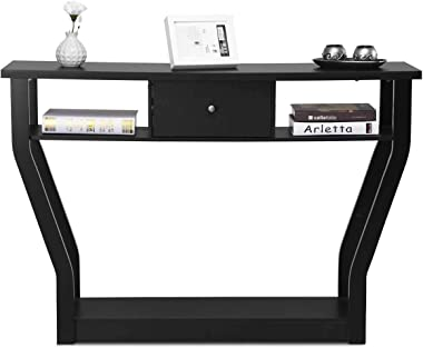 """3 Tier Console Table, BestComfort 47"""" Modern Entryway Wooden Accent Table with Drawer for Living Room, Hallway, Basement"""