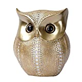 Owl Statue Decor Small Crafted Figurines for Home Decor Accents, Living Room Bedroom Office Decoration, Book Shelf TV Stand Decor - Animal Sculptures Collection BFF Gifts for Birds Lovers (Gold+white)