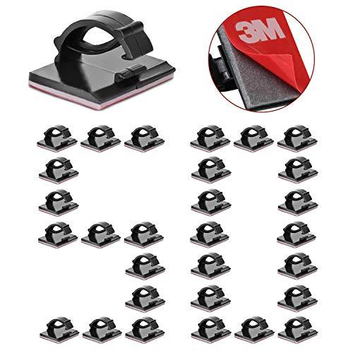 50 clips adhesivos 3M duraderos, organizador de cables, organizador de cables, organizador de cables eléctrico ajustable para escritorio, casa, TV, cargador, coche, PC (negro)