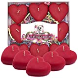 Floating Candles 2 inch Red Heart Candles Set 9 pcs - Decorative Unscented Candle - Waterproof Candles for Pool Centerpieces Vases - Party Spa Relaxation Romantic Decor - Mothers Day Surprise Gift