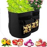 Bosdontek Macetero Bolsa Planta 2 Pack 10 Galones, Bolsa de Verduras, Bolsas de Cultivo, para Plantas Vegetales Aptas para Plantas de Patata, Zanahorias, Tomates, Cebollas y Otros