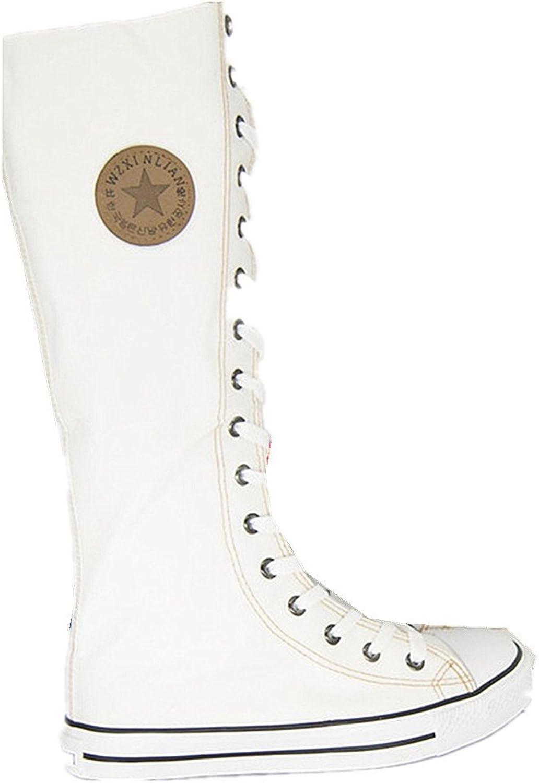 Jackdaine Punk High Cannon Canvas shoes Side Side Zipper Dress shoes Dancing Canvas shoes White