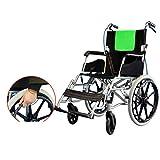 OLDHF Silla de Ruedas Plegable Ligera, Portable autopropulsado Silla de Ruedas, con Hand Brakes, para Ancianos, discapacitados,Verde