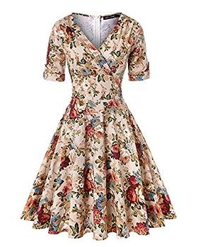 MINTLIMIT Women Retro Dress Rockabilly Half Sleeve Pleated Floral Swing Cocktail Vintage Dresses  Khaki,Size XL
