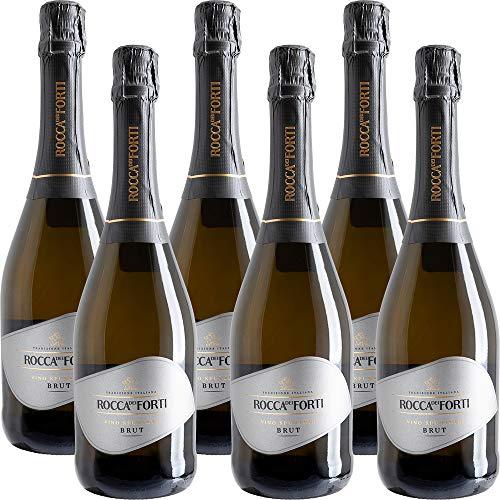 Vino Spumante Brut | Rocca dei Forti | 6 Bottiglie 75 Cl | Idea Regalo