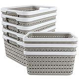 8 Pack Plastic Storage Basket, Acrux7 Portable Plastic Weave Kitchen Refrigerator Basket Bathroom Desktop Storage Box for Kitchen, Bathroom and Cabinet – 9.2Inch x 6.8Inch x 4.7Inch (Light-Coffee)