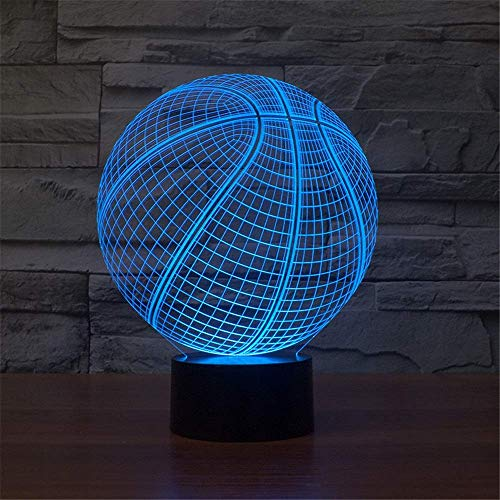 OUPPENG Table Lamp Bedside Kids Bedroom Desk Visual LED Night Light Basketball Pattern 3D Optical Illusion Lamp 7 Colors Changing Touch Switch Children Gifts Home Decoration USB/Battery Operated Readi