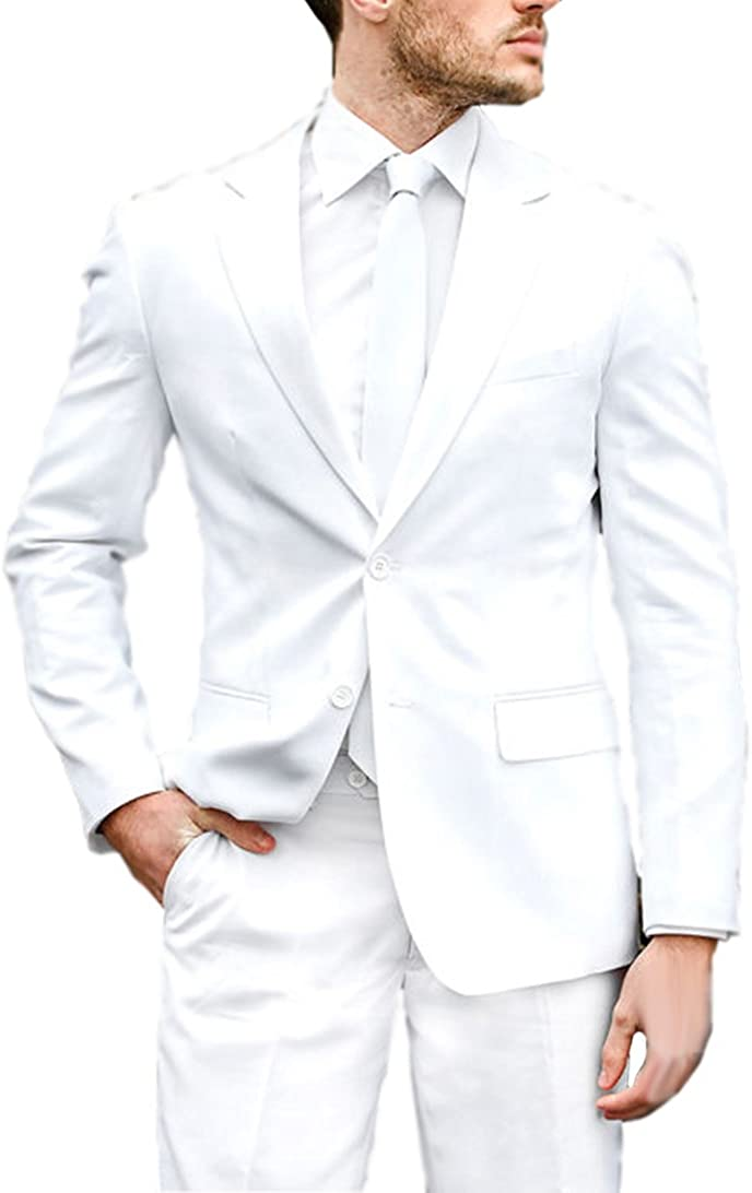 New Deve Newdeve Men's Slim Fit White 3 Pieces Stretch Two Buttons Suit With Hemmed Pant
