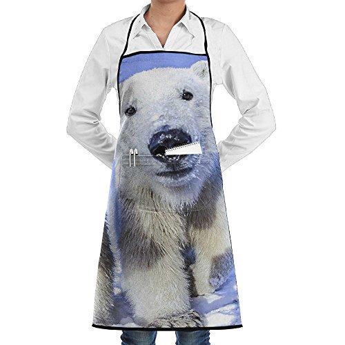 Kitchen Bib Apron Neck Waist Tie Center Kangaroo Pocket Polar Bear Pictures Background Waterproof