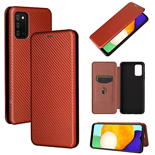 Funda para Galaxy A03S, Fibra de Carbono Cuero Flip Folio Carcasa [Magnético] [Suporte] [Ranuras para Tarjetas] para Samsung Galaxy A03S, Marrón