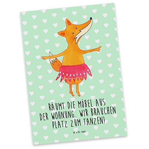 Mr. & Mrs. Panda Postkarte Fuchs Ballerina - 100% handmade in Norddeutschland - Geburtstag, Pappe, Papier, Tänzerin, Postkarte, Party, Einladung, Ballett, Füchsin, Grußkarte, Geschenkkarte, Ballerina