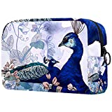 Bolsa de Maquillaje Grande con Cremallera, Organizador de cosméticos de Viaje para Mujeres y niñas - Hermoso Animal Azul Pavo Real Floral, Regalo del día de la Madre