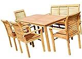 AS-S Teak Set Gartengarnitur Tisch 150x80 cm mit 1 Bank 150 cm für 3 Personen und 4 Sessel Holz Serie JAV-ALPEN