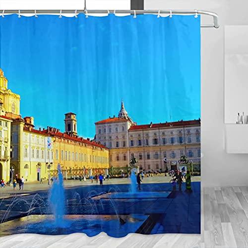 Italia San Carlo Square Turín Cortina de ducha Viaje Decoración de baño Set con ganchos Poliéster 72x72inch (YL-03259)