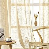 CUTEWIND Cortina de aspecto de lino beige, 2 unidades, para salón, moderna, con...