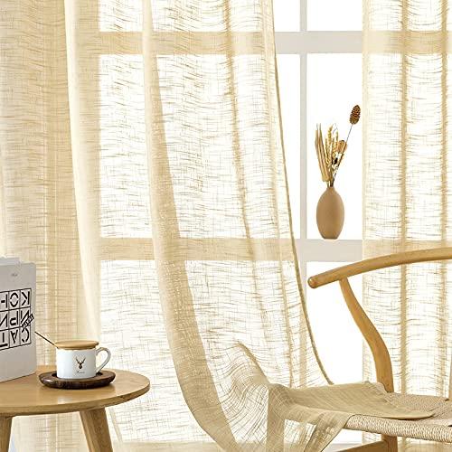 CUTEWIND Cortina de aspecto de lino beige, 2 unidades, para salón, moderna, con ojales, semitransparente, para ventanas grandes, 245 x 140 cm