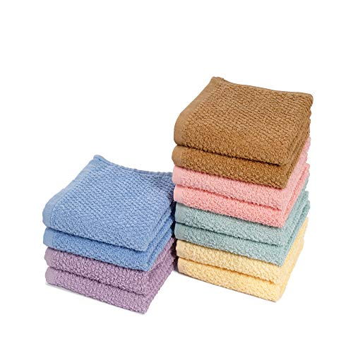 EuroSpa | Luxury 12 Piece Wash Cloth Towel Set | 100% Cotton Quick Dry | Highly Absorbent | Super Soft Face Towel |- 400 GSM (12 Piece 12X12 ) | Assorted Colors