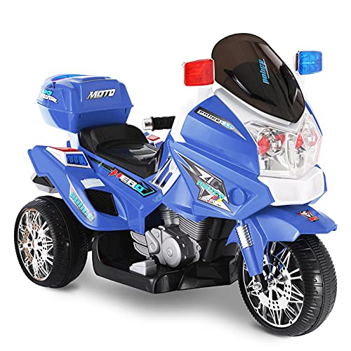 BABLE Motorcycle for Kids, 12V Kids Electric Motorcycle, Kids Ride On Police Motorcycle Bike, 3...