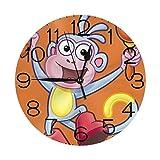 DORA the EXPLORERブーツ 壁掛け時計 おしゃれ デジタル ミュート 円形 掛け時計 置き時計 目覚まし時計 インテリア 装飾