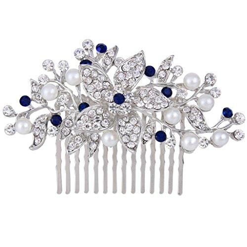 EVER FAITH® herrlich österreichische Kristalle elegant Blume Haarkamm blau Silber-Ton N00419-2