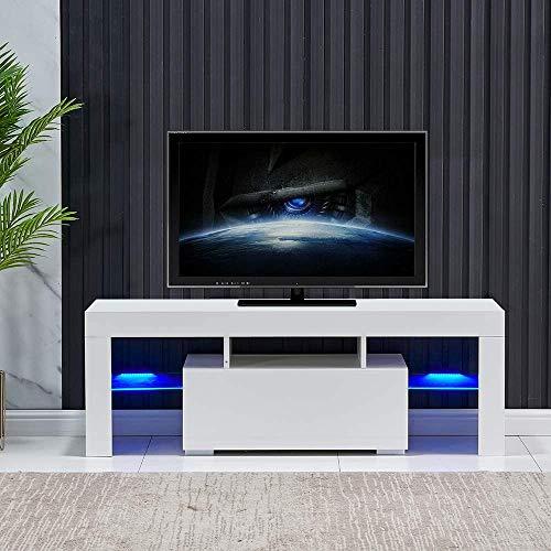 Galaga Meuble TV moderne avec espace de rangement pour le salon, la maison, corps blanc mat et porte brillante avec lumière LED (130 x 35 x 45 cm)