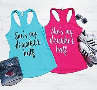 She's my Drunker Half Tank Top, Drinking Tanks, Drinking Shirts, BFF Tanks, Best Friend Tanks, Summer Drinking Tanks. Concert Tanks, Drunker