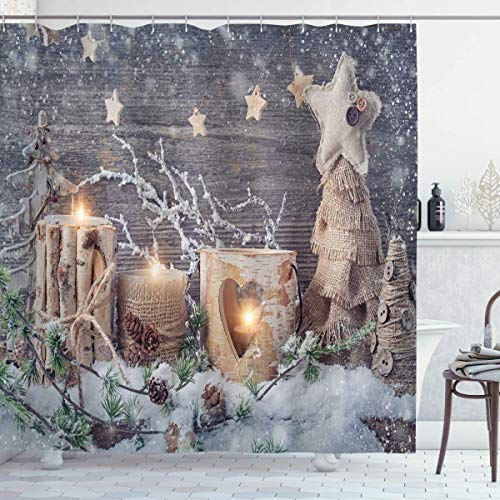 ngquzhe Hotel Qualität Polyester Duschvorhang Kerze Winterurlaub Duschvorhang Dusche & Badewanne W48 x L72 Zoll Weihnachten Khaki Grau