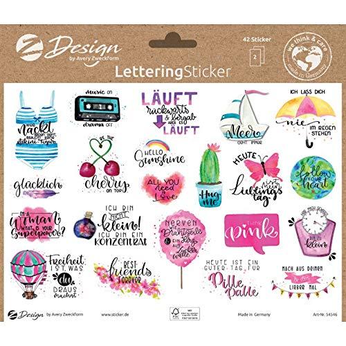 AVERY Zweckform Dekosticker 42 Aufkleber Sprüche (Sticker auf A5 Bogen, Etiketten für Tagebuch, Karten, Geschenke, Klebeetiketten mit Silbereffekt) 54546