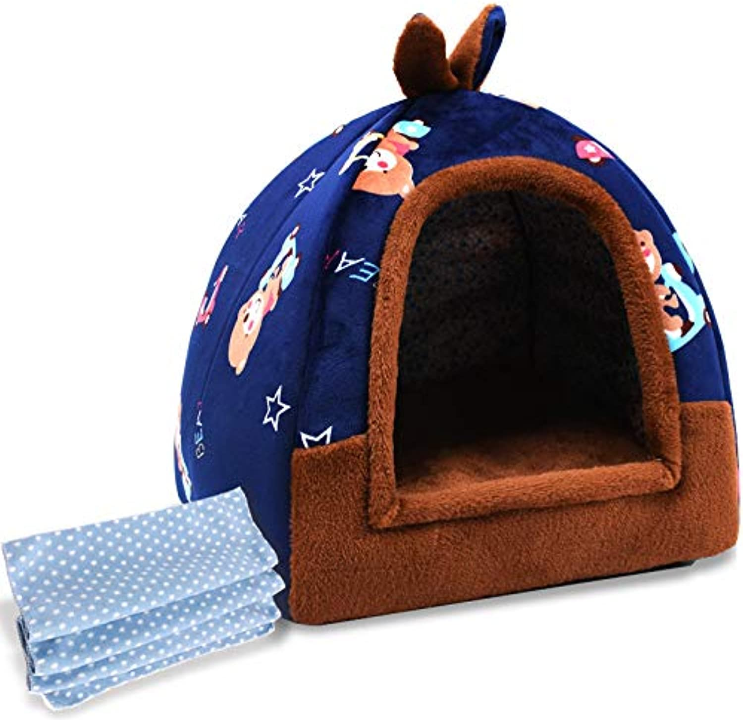YYYPET Quattro stagioni, doppia, calda, blu 3,38X38X37CM caldo Pet Soft Nest Kennel Puppy House Plush Dog Cat Pet indoor House e Sofa Folgeble Pet Supplies pet Sleeping Bag