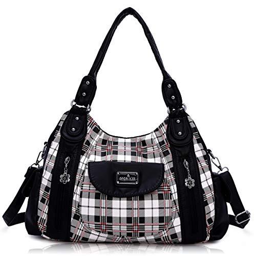 Handbag Hobo Women Handbag Roomy Multiple Pockets Street ladies' Shoulder Bag Fashion PU Tote Satchel Bag for Women (AK812-5P#1894#7#White/Black)