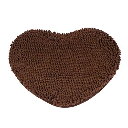 Eastery Herz Teppich Schlafzimmer Tür Flauschig Chenille Teppich Kissen Saugfähig rutschfest Einfacher Stil Bodenmatten Coffee (Color : Coffee, Size : Size)