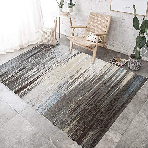 RUGYUW Alfombra Pelo Diseño Retro Simple Gris Negro Azul,salón dormitorios Room comedores pasillos Cocina alfombras (5'11''X9'2''ft)