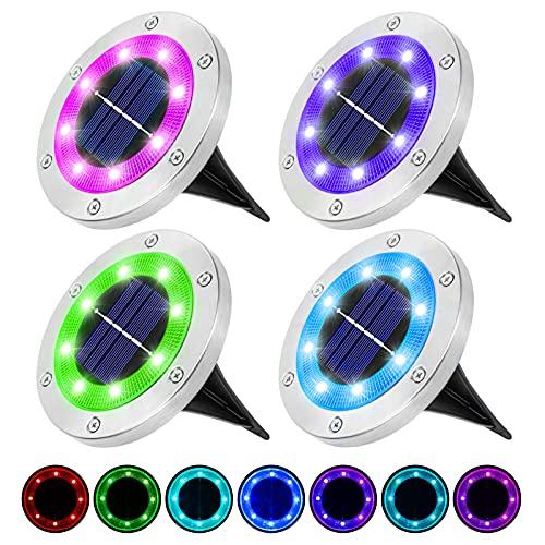 LITAKE Luci Solari Giardino Esterno, 8 LED RGB Luce Sepolta Lampada Luci Solari da Terra IP65...
