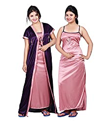 TRUNDZ Womens Satin Full Length Night Gown, Free Size (Purple and Pink, 535)