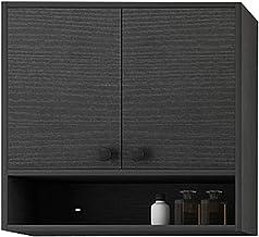 خزانة خزانة خزانة تخزين الأدوية الصلبة الخشبية تعلق على الحائط خزانة مرحاض خزانة المطبخ (اللون: أسود، الحجم: 70 * 13 * 65 سم)