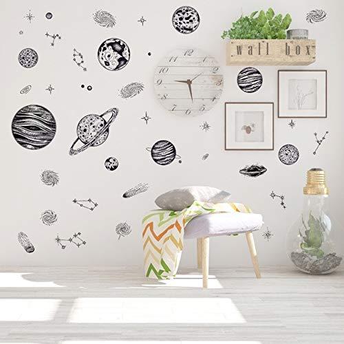 Autocollant Mural Noir Sketch Space Planet Stars Voie Lactée Salle De Bain Enfants Salon Bureau Décoration Bricolage Amovible Autocollant Decal