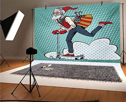 Indie - Fondos de vinilo para fotos (8 x 6 pies), diseño de Papá Noel con hipster en Scooter con bolsa de regalo, fondo temático de Navidad para selfie, fiesta de cumpleaños, fotos de cabina de fotos
