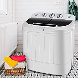 SUPER DEAL Portable Compact Mini Twin Tub Washing Machine w/Wash and Spin Cycle, Built-in Gravity Drain, 13lbs Capacity… 1 Watch video here: https://www.youtube.com/watch?v=V-c4QJqxpN4 ★ Twin Tub Design - With the Twin Tub dual function design, this washing machine can save your precious time by washing and spinning dry loads at the same time. You can move clothes directly from the washer to the spinner – or run both sides together to finish your laundry. ★ Powerful Performance - The portable washer machine features a 1300RPM powerful motor with a max frequency of 60Hz, rotary controls for wash timer and a water efficient design. Washer: 8 lbs., Spin Cycle: 5 lbs. Watch your clothes get clean with a translucent tub container window. ★ Time/Space-Saving - Washer control timer runs for up to 15 minutes while the spin cycle timer runs for up to 5 minutes each load. Feel free to choose any time to wash. Easy to move and transport to anywhere, lightweight and space-saving design allows it easily fit in a bathroom or closet, ideal for camping trips, dormitories, or anywhere with limited space.