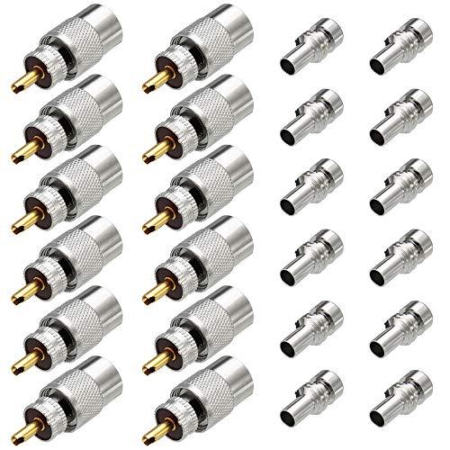 Greluma 12 STK PL259 Stecker, UHF PL 259 Steckerlöt-Koax-Stecker mit Reduzierstück, RF Adapter 50 Ohm für RG59, RG8, RG8x, LMR-400, RG-213 Kompatibel mit Amateurfunk