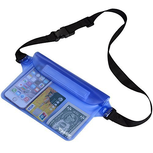 WisVertor Waterproof Pouch Bag Case with Waist Strap for Beach, Swimming, Boating, Kayaking, Fishing, Hiking, Camping - Protect for iPhone, Cell Phone, Camera, Cash, MP3, Passport, From Water (BLUE)