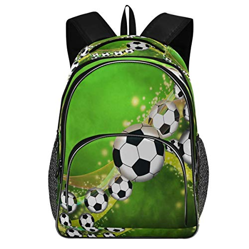 Soccer Football Backpack Empty Space Bookbags College Students Daypack Three Layer Arc Laptop Backpacks with USB Charging Port School Book Bag for Teens Men Women Kids Boys Girls