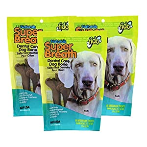 Fido Super Breath Dental Care Bones for Dogs, Made with Kelp, Parsley and Chlorophyll – Naturally Freshens Breath, Reduces Plaque and Whitens Teeth – 8 Medium Treats Per Pack, Pack of 3