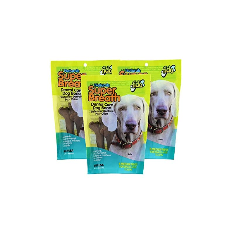 dog supplies online fido super breath dental care bones for dogs, made with kelp, parsley and chlorophyll - naturally freshens breath, reduces plaque and whitens teeth - 8 medium treats per pack, pack of 3