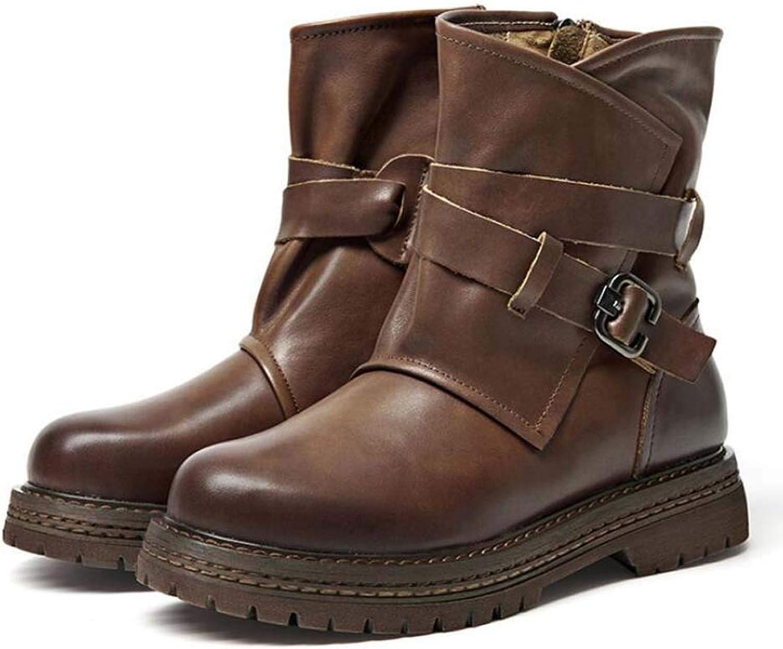 Women Martin Boot High Top Ankle Bootie Round Toe Belt Buckle Zipper Knight Boot Motorcycle Boots EU Size 35-40