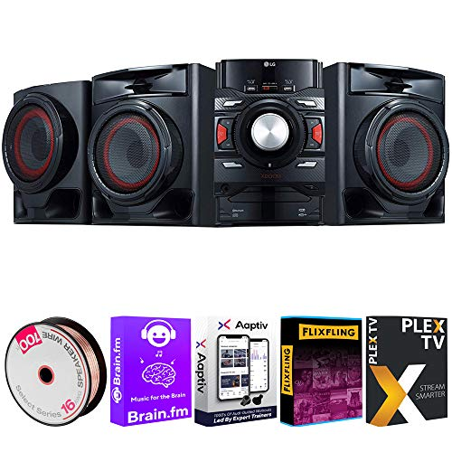 LG CM4590 XBOOM Bluetooth Audio System with 700 Watts Total Power Bundle with Deco Gear 100ft Long 16 AWG Speaker Wire and Tech Smart USA Audio Entertainment Essentials Bundle 2020