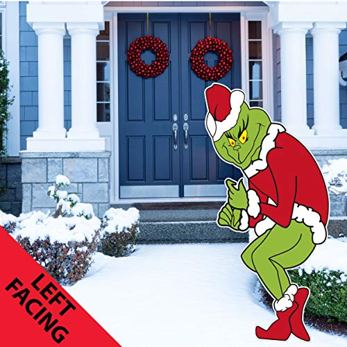 Grinch Stealing Christmas Lights Yard Art Funny Lawn Decoration