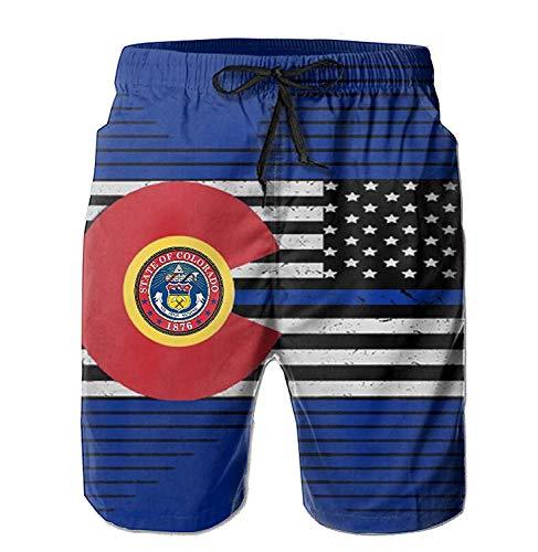 Jiger American Colorado Flag Pants of XXL Swimming Trunks for Men's Boardshort Beach Pants Elastic AnkleL