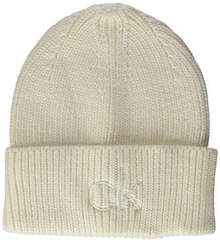 Calvin Klein Beanie Gorro/Sombrero, Blanco, Talla única para Mujer